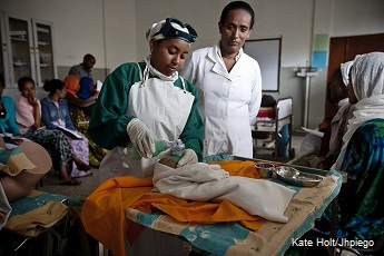 Trainee midwives attend classes at Shishemene Midwifery training college at Shishemene Hospital, Shishemene in Ethiopia and learn newborn resuscitation on humanistic models