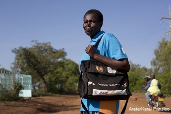Community health worker walking in Kenya