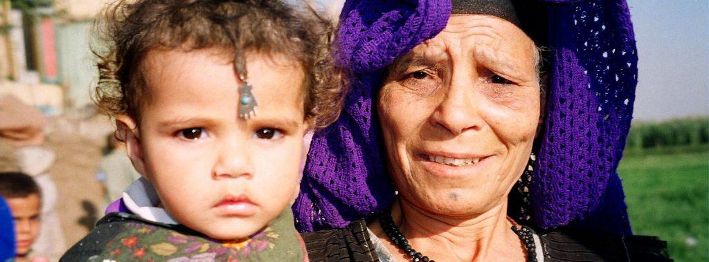 Egyptian grandmother and baby