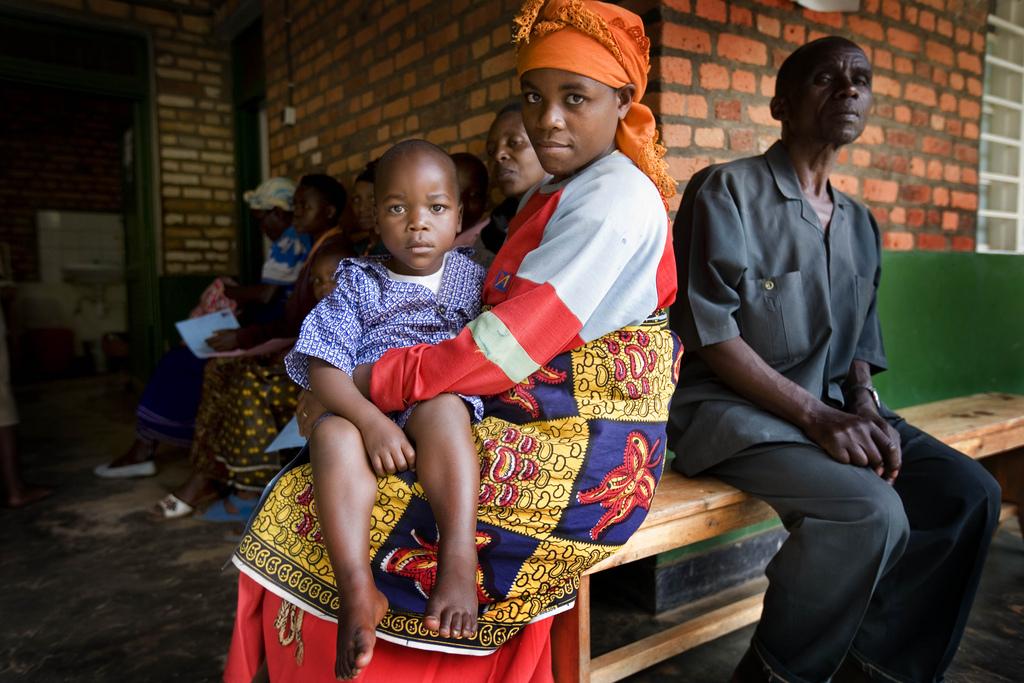 Women and their children wait to see a doctor in the outpatients unit in Nemba Hospital, Nemba, Rwanda.