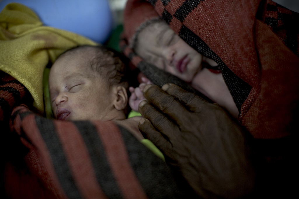 Newborn twins in Ethiopia