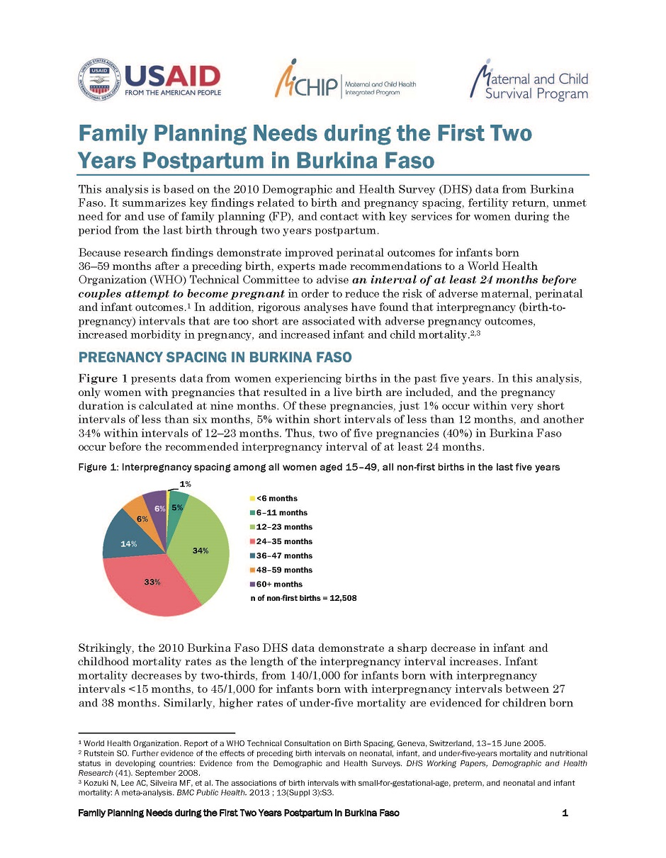 Family Planning Needs during the First Two Years Postpartum in ...