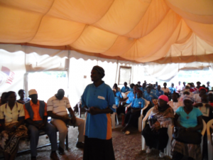 Victoria Achieng, speaks about providing iCCM at a community event