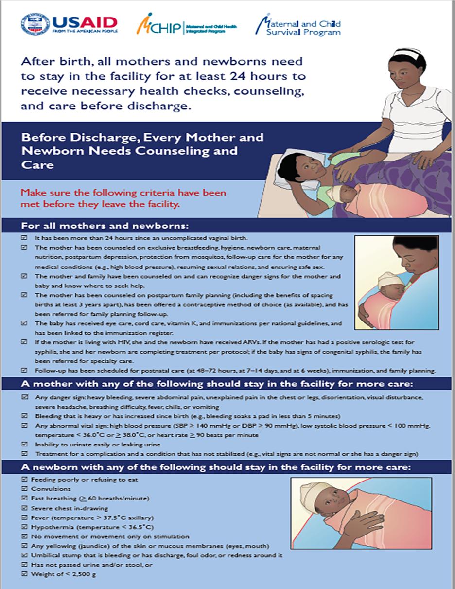 Postnatal Care Bedside Pre-Discharge Poster and checklists