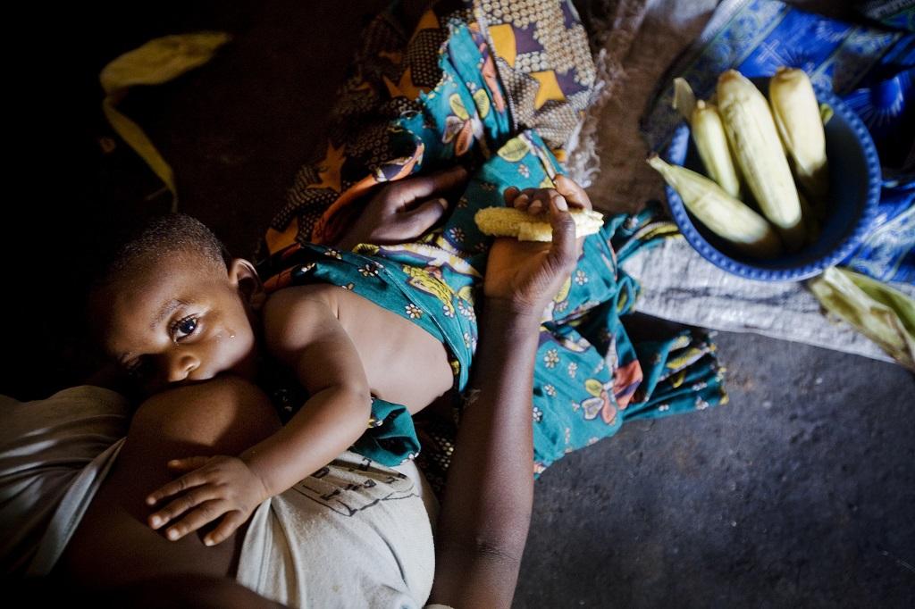 Mother in Tanzania breastfeeding her child