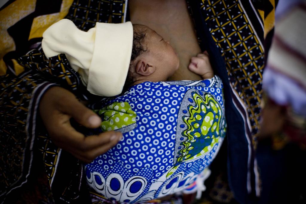 Mother and newborn doing Kanagaroo Mother Care.