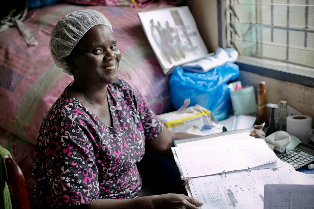 Midwife at Clara Town Government Clinic in Monrovia, Liberia.
