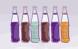Author's illustration of soda bottles