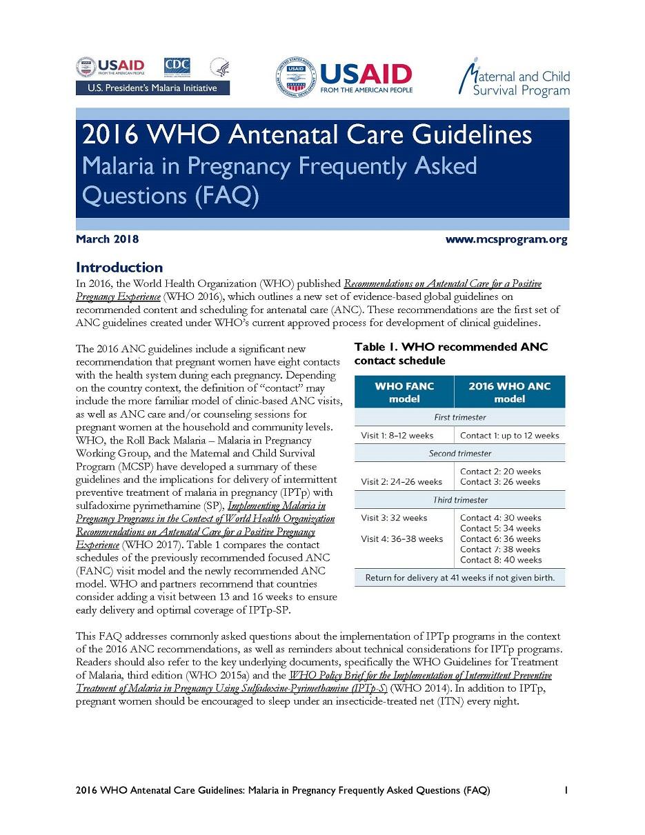 2016 WHO Antenatal Care Guidelines Malaria in Pregnancy ...