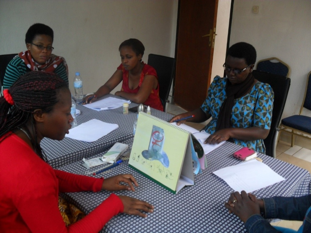 Role playing PPFP counseling during training in Kamonyi district.