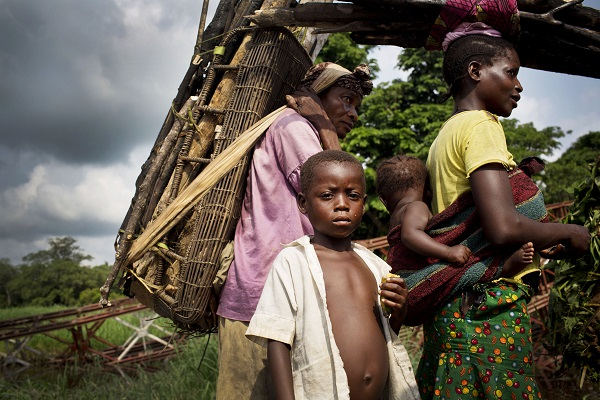 children with their family in DR Congo