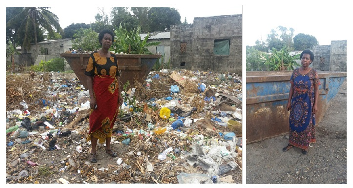 The unhygienic situation near Sozinho's home before – and after – taking action.
