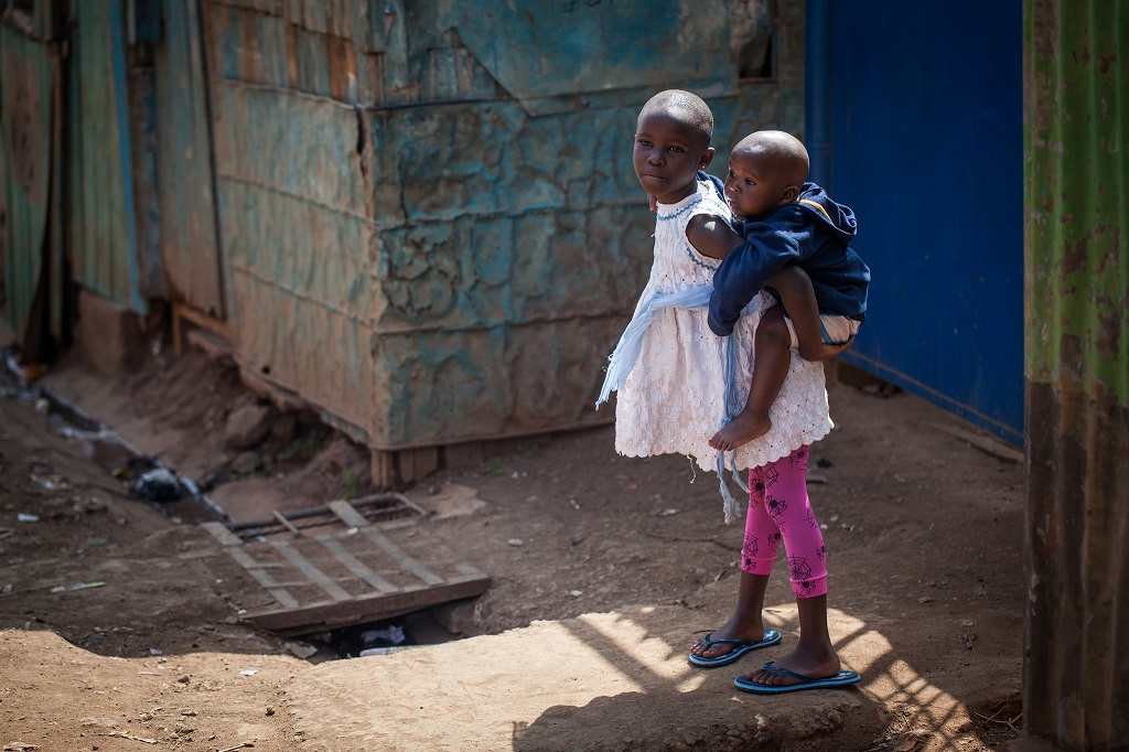 Children in urban slum in Nairobi, Kenya
