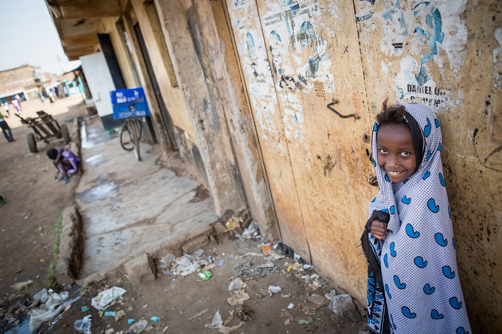 Child in urban slum in Nairobi, Kenya