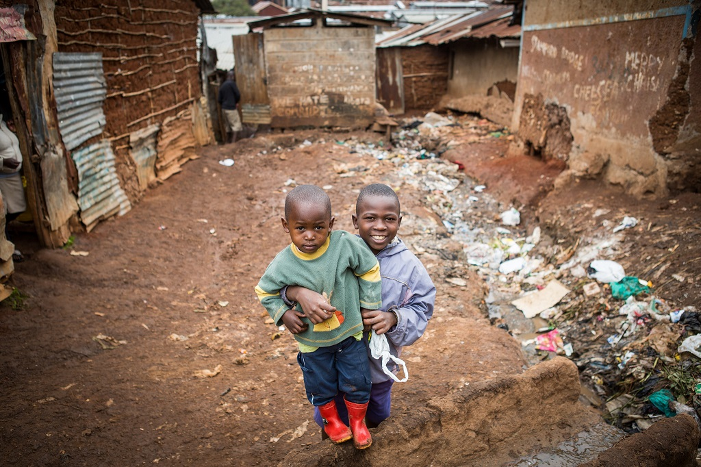 Children in urban slums in Nairobi, Kenya