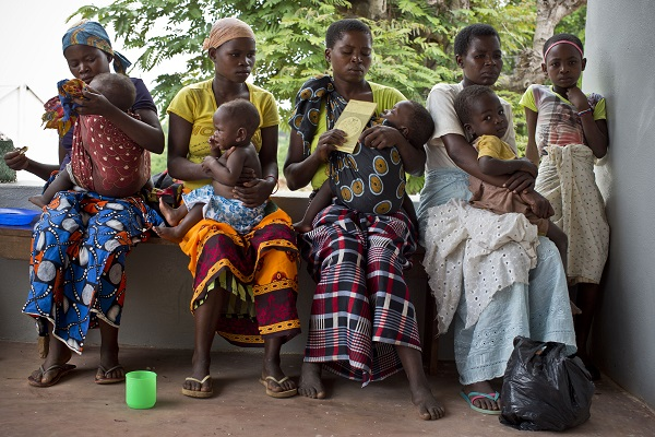 Women and their children wait to see a health worker at the Nihessiua Health Centre Nampula, Mozambique