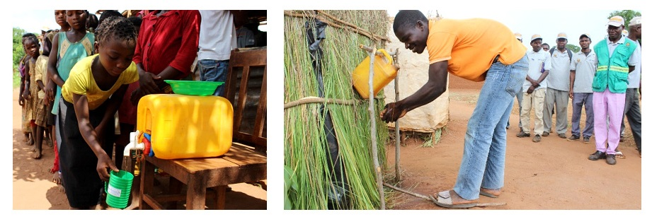 Promoting drinking clean water (left) and tippy taps for handwashing (right) in the community.