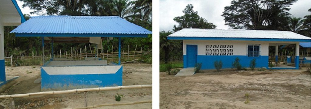 Before and after photos of triage unit at Slagonplay Clinic in Nimba County
