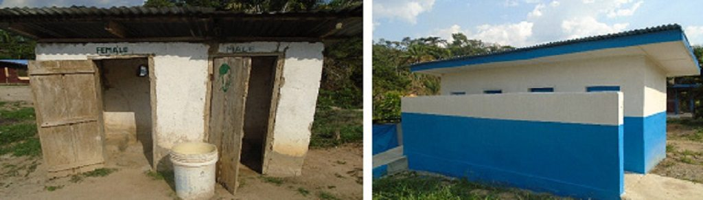 Before and after photos of latrines at Give Them Hope Clinic in Nimba County