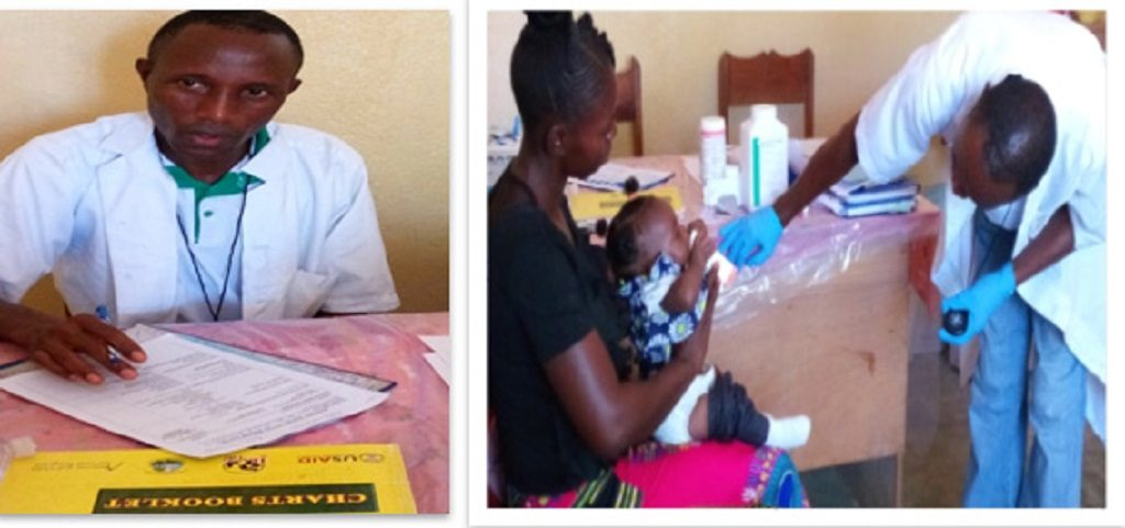 Andrew Cole using the case recording form, and assessing a child at Liberia's Voinjama Free Pentecostal Mission clinic.