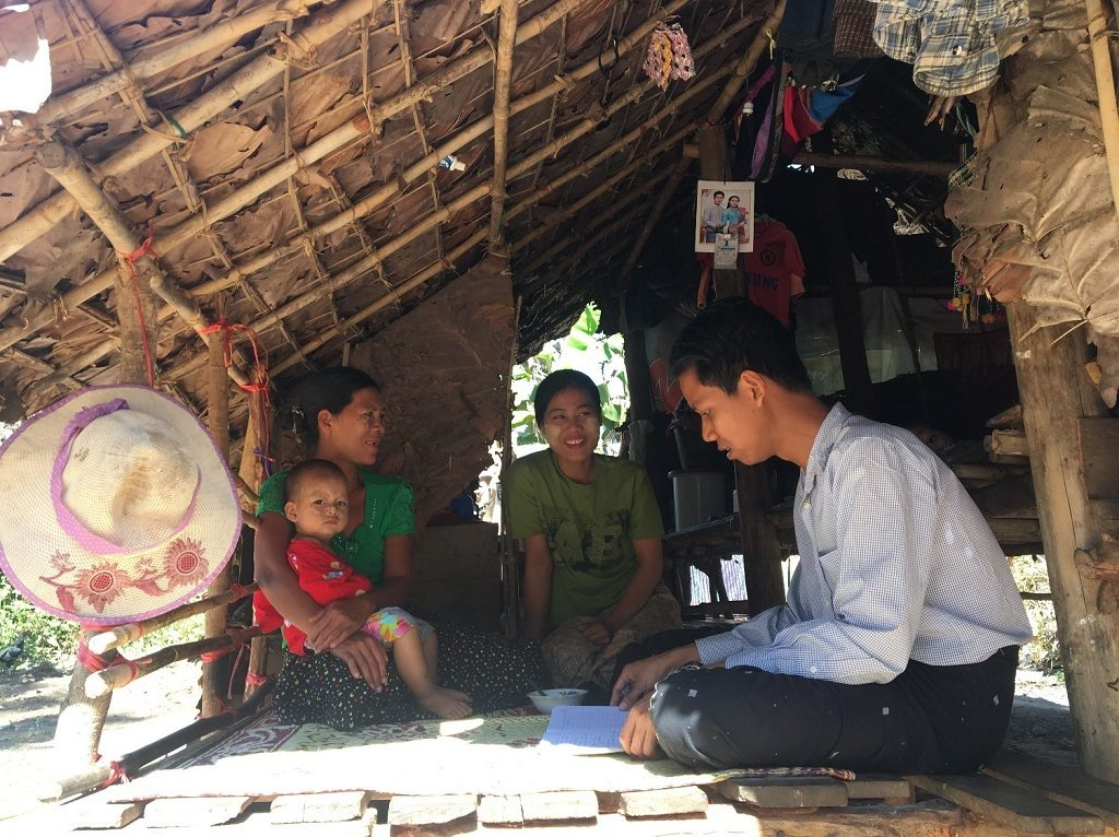 Daw Yin Yin Myo speaks with Ma Linn Lat Htun, and Dr. Thu Naing at her home