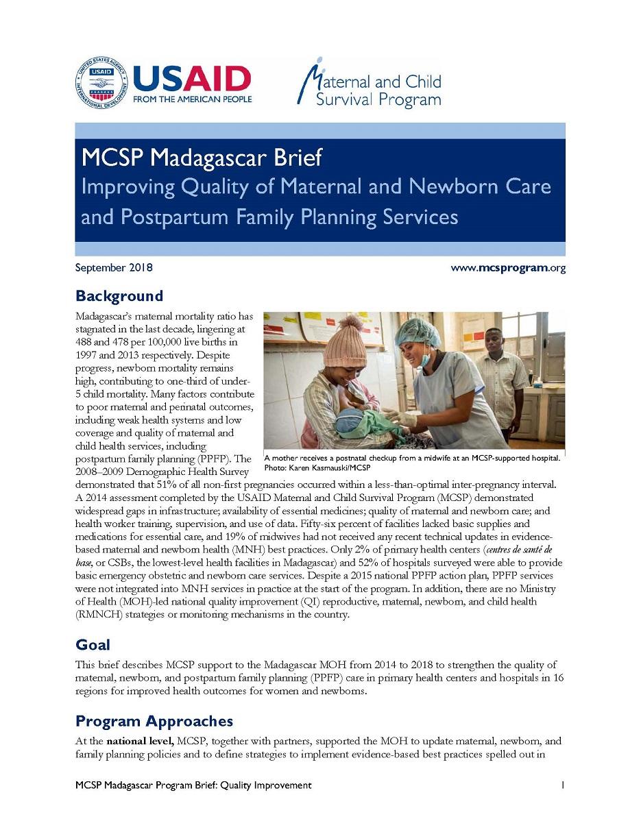 MCSP Madagascar Brief: Improving Quality of MNC and PPFP