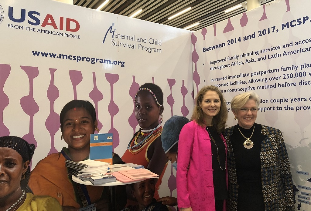 er Royal Highness Sarah Zeid, Princess of Jordan, and USAID's Dr. Alma Golden at MCSP booth