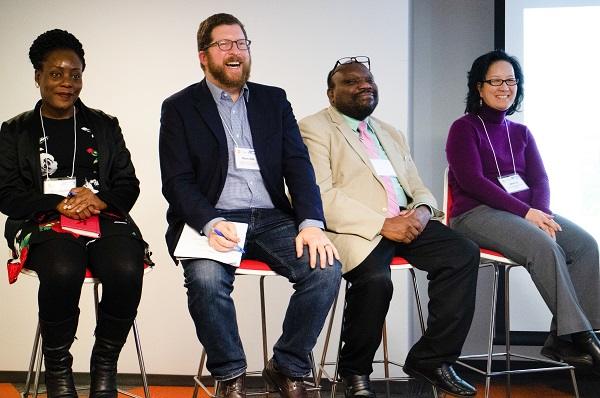 Allen Nsangi/mPowering, Steve Ollis/MCSP, Bobby Jefferson/DAI Global Health, and Alice Liu/mPowering during a panel at the 2018 Global Digital Health Forum.