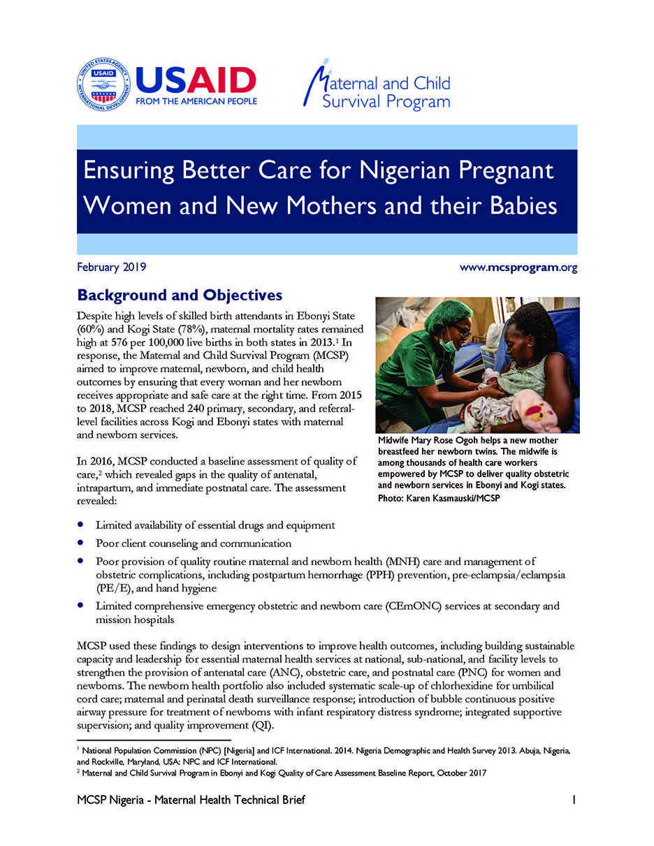 Ensuring Better Care for Nigerian Pregnant Women and New Mothers