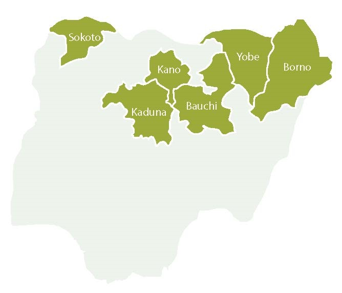 Map showing six RI MOU states in northern Nigeria.