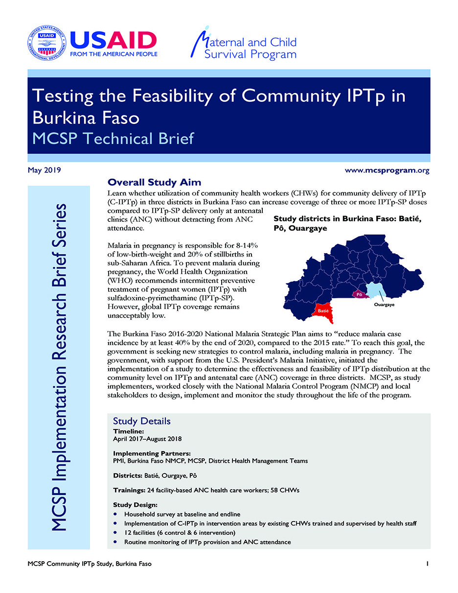 Brief Intervention May Prevent >> Testing The Feasibility Of Community Iptp In Burkina Faso