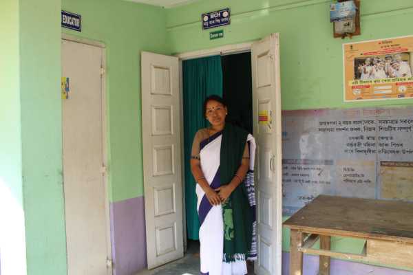 Leisangbi Devi, a CHW who helps Singha follow up with clients who accept FP.