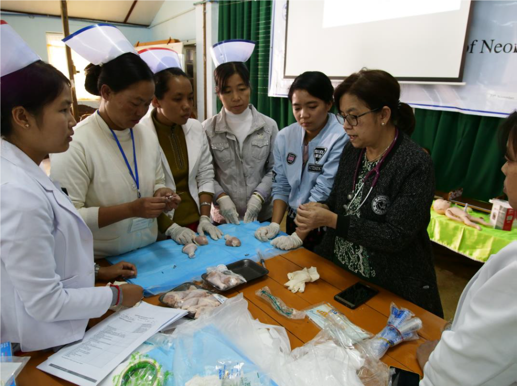 Dr. Thein Hnin of Taunggyi Women and Children Hospital demonstrates a skill during a facility-focused Integrated Management of Newborn and Childhood Illness training in Southern Shan State.